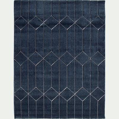 Tapis à motifs géométriques - bleu 133x190cm-ORPHEE