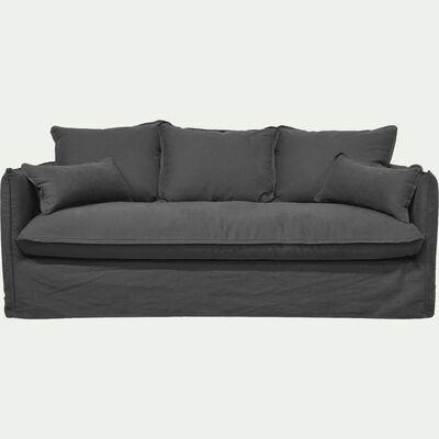 Canapé 4 places fixe en coton et lin - gris ardoise-KALISTO