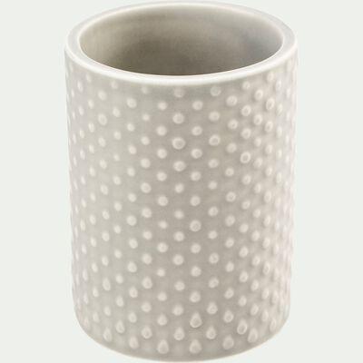 Porte brosse à dent en céramique relief - beige alpilles-NARCISSE
