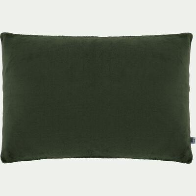Housse de coussin effet polaire- vert cèdre 40x60cm-ROBIN