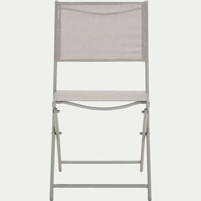 Chaise de jardin pliante en acier et textilène - gris vésuve-LIMONE