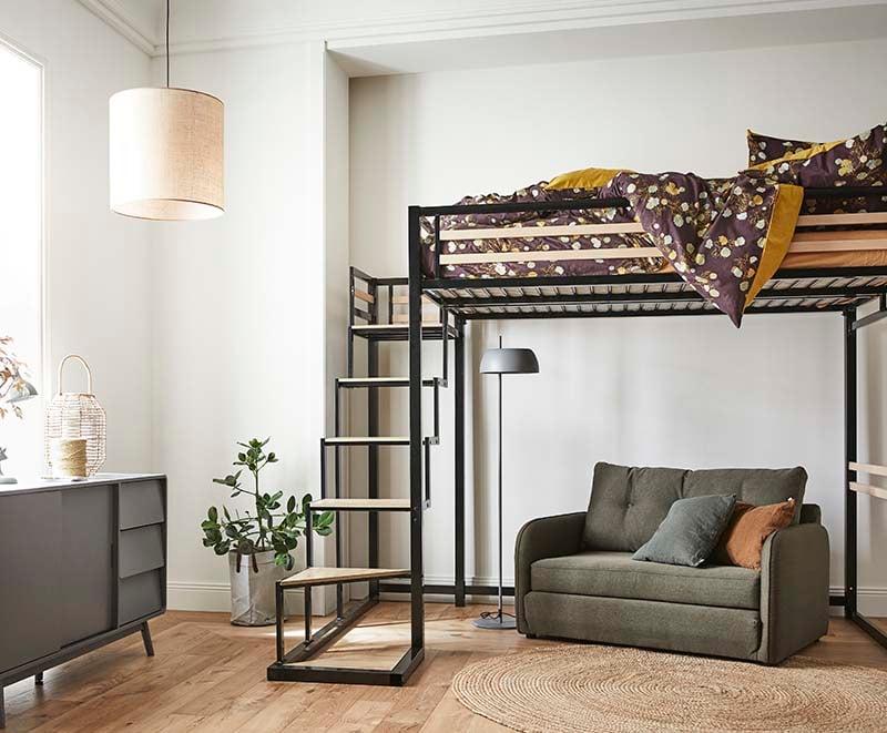chambre avec lit adulte mezzanine