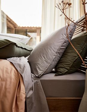 linge de lit en percale de coton