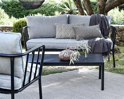 salon de jardin en aluminium gris