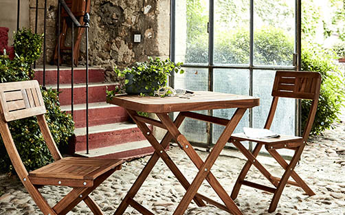 Table bois de jardin : acacia, tech massif, eucalyptus | alinea